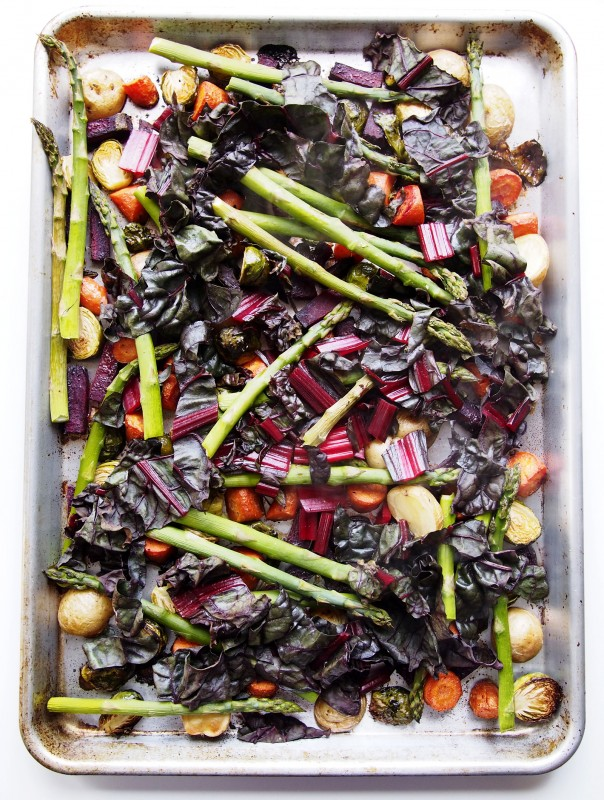 This rainbow of roasted veggies is perfect for any meal any time of the day. Just a drizzle of honey and serve!