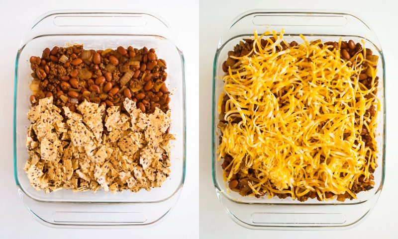 Layer up the beans, chips, and cheese for a perfect bite every time!