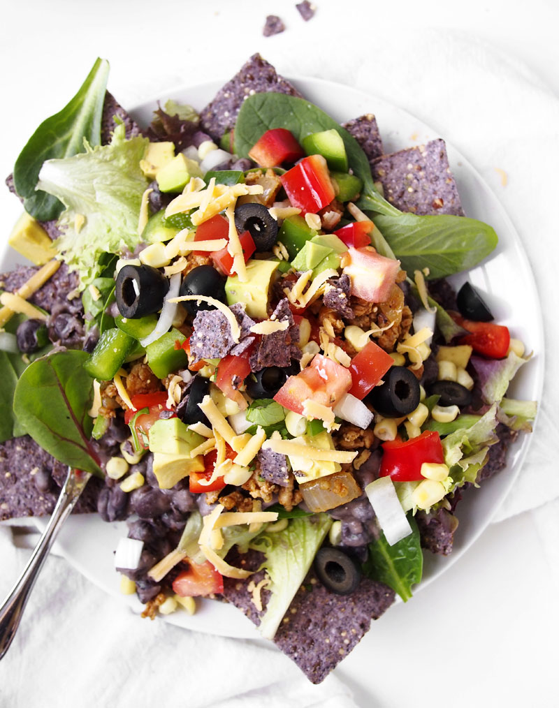 We're lightening up Taco Tuesday with this craveworthy chicken taco salad recipe.